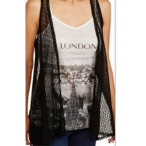 NWT Tru Self 2Fer London Print Cami Lace Vest Sz M